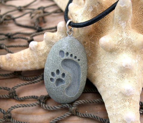 Footprint and Cat Paw Forever Friends - engraved Beach Stone Pendant - Cast a Stone