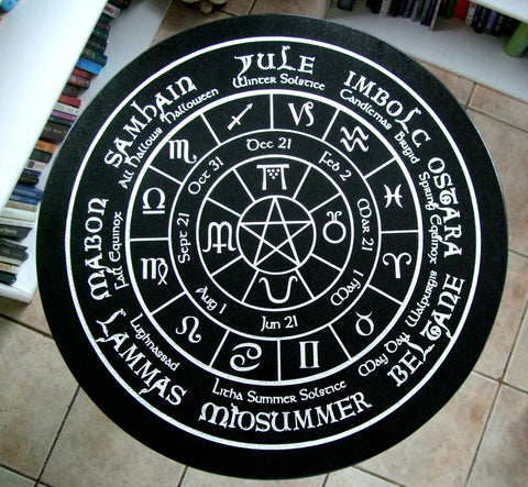 Old World Pagan Wheel of the Year -fully engraved- Altar/Tarot Reading Table with Cast Iron base - Cast a Stone
