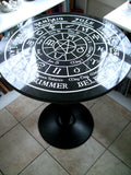 Old World Pagan Wheel of the Year -fully engraved- Altar/Tarot Reading Table with Cast Iron base