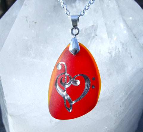 Music lover's Heart - Lollipop Red and Fiery Orange Sea Glass Pendant - Cast a Stone
