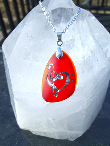 Music lover's Heart - Lollipop Red and Fiery Orange Sea Glass Pendant