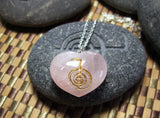 Cho Ku Rei Reiki engraved Rose Quartz Heart Necklace