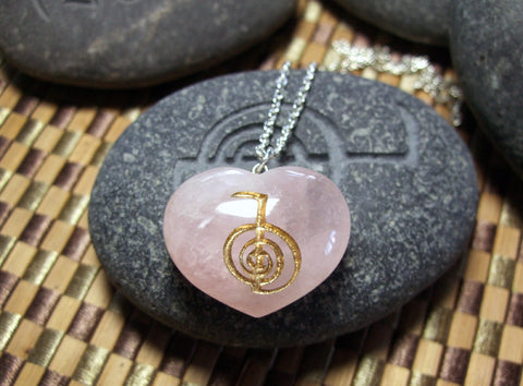 Cho Ku Rei Reiki engraved Rose Quartz Heart Necklace - Cast a Stone