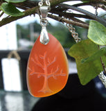 Tree of Life pendant- Natures Mother necklace - engraved Sea Glass Jewelry - choose your color - Cast a Stone