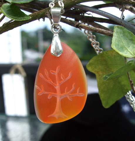 Tree of Life pendant- Natures Mother necklace - engraved Sea Glass Jewelry - choose your color