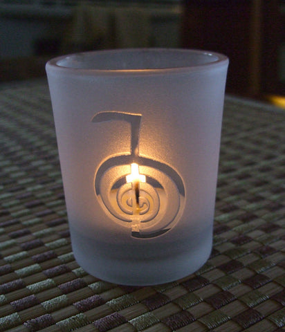 Reiki engraved Glass votive tea light Candle holder - Frosted or Clear 6 styles Reiki symbol, Cho Ku Rei, Sei He Ki, HSSSN, Dai Ku Myo or Om - Cast a Stone