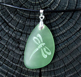 Dragonfly engraved on Ocean beach Sea Glass pendant - choose your color - Cast a Stone