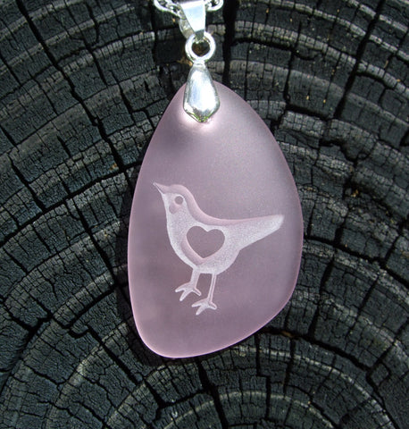 Lil' LoveBird with 3D heart - makes my heart sing - engraved Ocean beach Sea Glass pendant - Cast a Stone