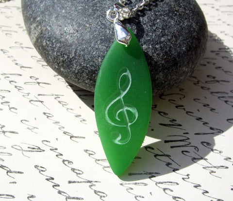 Treble Clef Music symbol - deeply engraved - opaque Bottle Green beach Sea Glass pendant