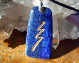 Reiki Stone Raku grounding symbol - engraved Lapis Lazuli Necklace - Cast a Stone