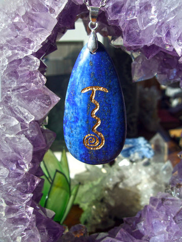 Reiki Stone - Fire Serpent symbol - engraved Lapis Lazuli Necklace - Cast a Stone