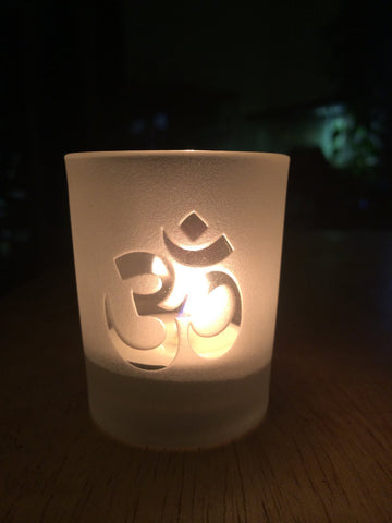 om engraved glass votive tea light candle holder frosted or clear 2 styles om or