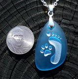 Footprint and Cat Paw Forever Friends - engraved Ocean beach Sea Glass pendant - Cast a Stone