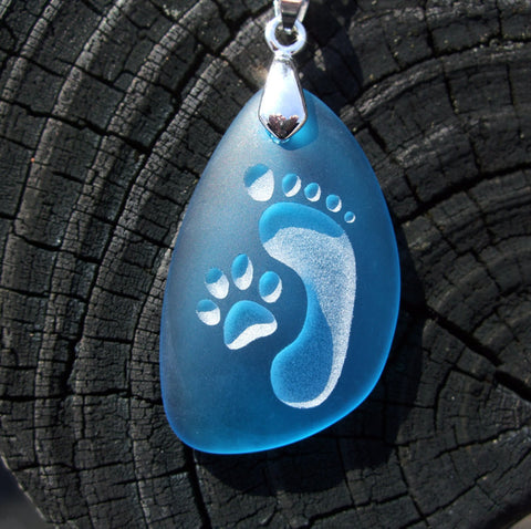 Footprint and Cat Paw Forever Friends pendant- engraved  Sea Glass Jewelry - choose your color - Cast a Stone
