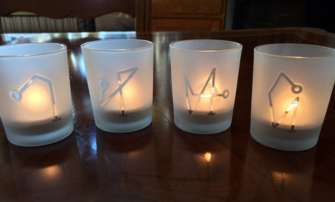 Archangel engraved Glass votive tea light Candle holder - Frosted - 4 styles Angels Michael, Raphael, Gabriel or Uriel