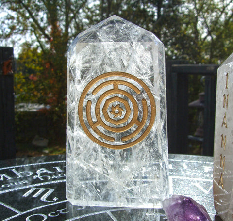 Hecate Wheel (Strophalos of Hekate) focus Crystal Handcarved, Polished Quartz Point with the & Hecate Wheel inscribed upon it