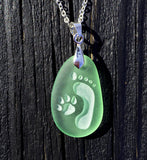 Footprint and Dog Paw Forever Friends engraved Sea Glass pendant Jewelry - choose your color - Cast a Stone