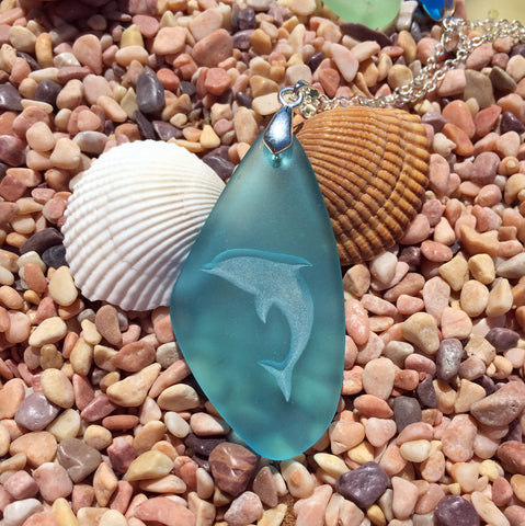 New! Dolphin engraved Sea Glass Pendant- a symbol Harmony and Balance - choose your color - Cast a Stone