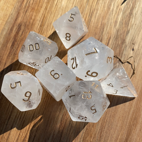 Clear Quartz Gemstone Dice Engraved Gaming Set