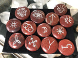 Red Jasper Witch's Runes in Silver (set of 13)