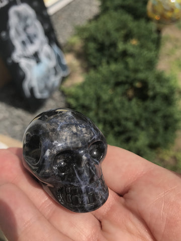 Sodalite natural crystal Skull - Cast a Stone