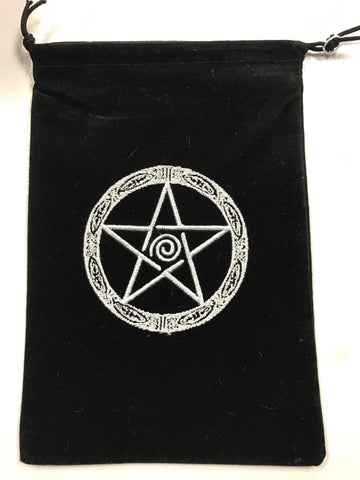 Embroidered Pentacle velvet bag for Crystals, Cards and more! - Cast a Stone