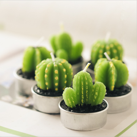 Cactus votive candles 6 pic set - Cast a Stone