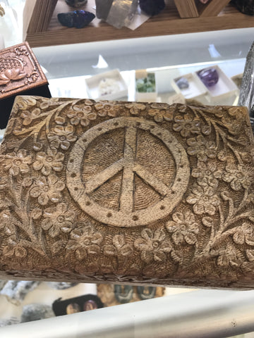 Carved wooden box Peace sign lined - Cast a Stone