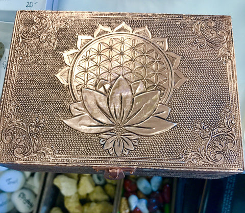 Bronze Metal Lined Box - Flower of Life - Cast a Stone