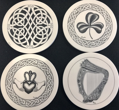 Celtic Eco ivory scrimshaw coaster set - Cast a Stone