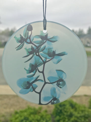 Glass X-Ray Ornament Turquoise Orchid - Cast a Stone