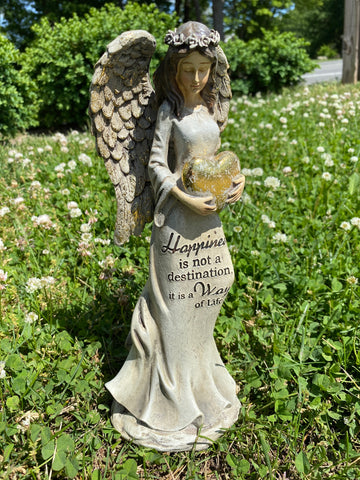 Angel with Gold Heart Garden Statuary
