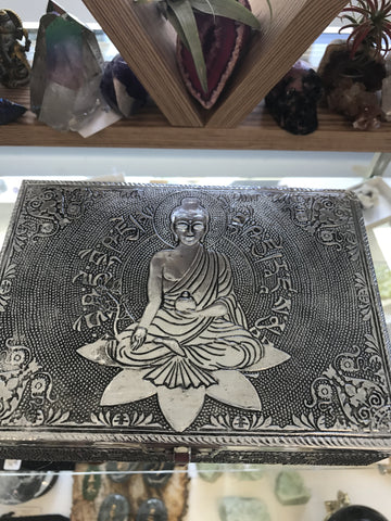 White metal sitting Buddha lined box - Cast a Stone
