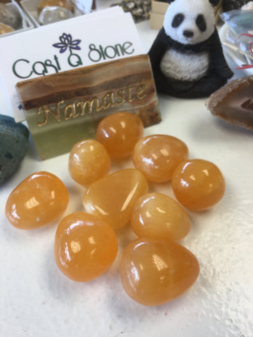 Orange Calcite Tumbled Single Gemstone - Cast a Stone