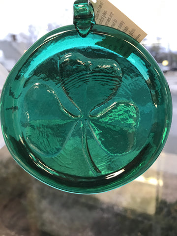 "3"" Suncatcher Shamrock Green - hand blown Art Glass Ornament"
