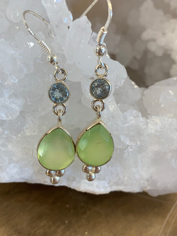 Dangling Chrysoprase and Blue Topaz Earring Set