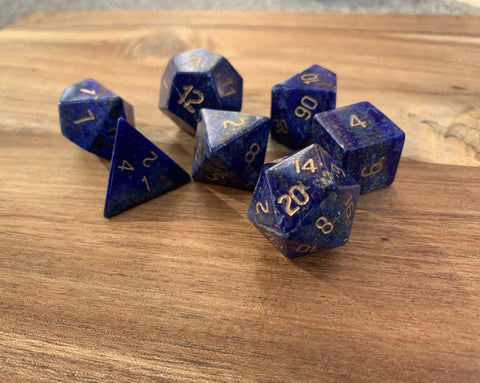 Lapis Lazuli Gemstone Dice Engraved Gaming Set