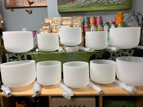 Frosted Pure Quartz Singing Bowls -Chakra Tuned