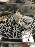 Flower of Life glass engraved grid
