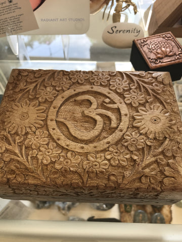 Carved wood Om lined box - Cast a Stone
