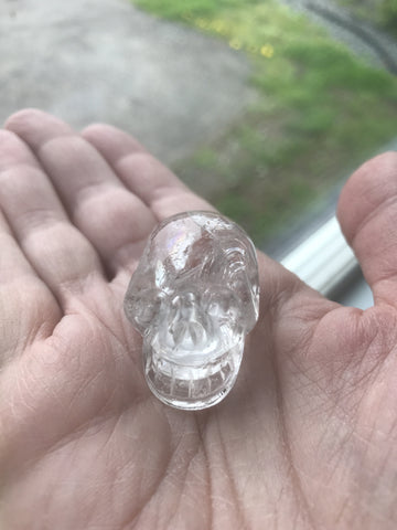 Small clear Quartz crystal skull - Cast a Stone