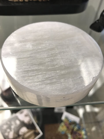 Selenite polished charging disk 3""