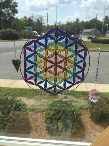 Flower of Life Rainbow Suncatcher - Cast a Stone