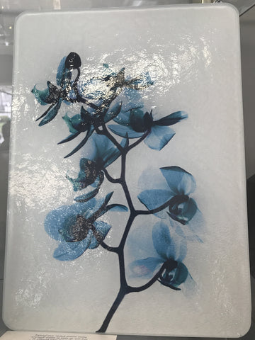 Medium Turquoise Orchids X-Ray Cutting Board - Cast a Stone