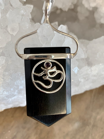 Om in Sterling on Black Tourmaline with Amethyst Gemstone