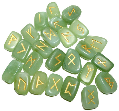 Green Jade Rune stones Set