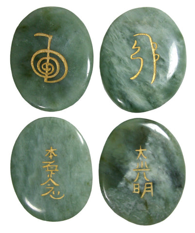 Clearance! XL Palm Sized Reiki Stones in Jade set of 4 - Cast a Stone