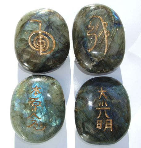 Large LIMITED EDITION Labradorite Reiki Stones© Set of 4 Palm sized Crystals - Cast a Stone