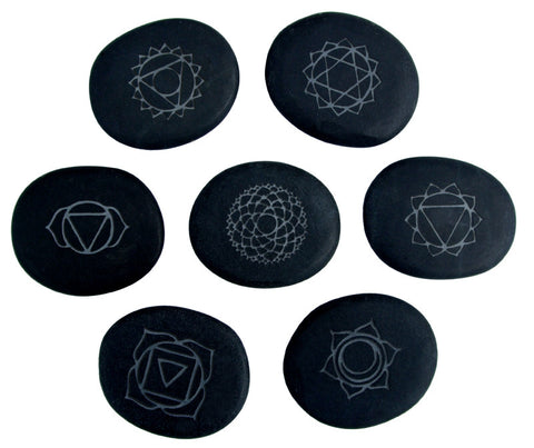 CLEARANCE!! Chakra engraved Hot Stones!