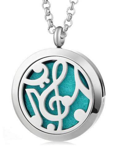 Music Note Aromatherapy Locket Pendant - Cast a Stone